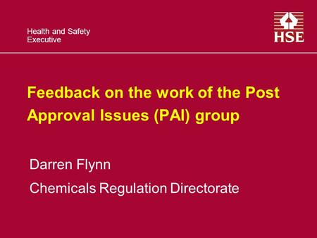 Health and Safety Executive Feedback on the work of the Post Approval Issues (PAI) group Darren Flynn Chemicals Regulation Directorate.