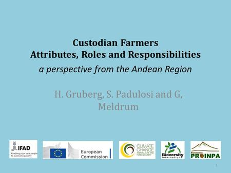 Custodian Farmers Attributes, Roles and Responsibilities H. Gruberg, S. Padulosi and G, Meldrum 1 a perspective from the Andean Region.