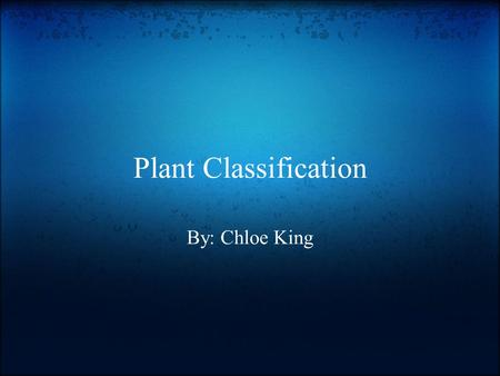 Plant Classification By: Chloe King.