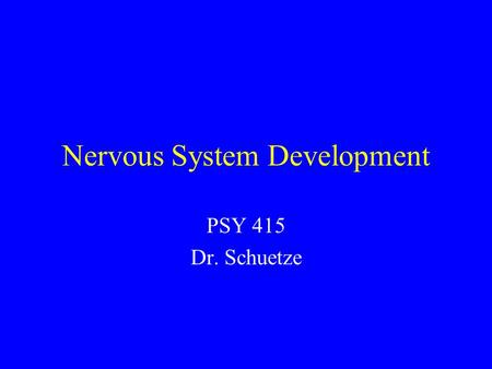 Nervous System Development PSY 415 Dr. Schuetze. Question What are the basic patterns of synaptic and brain development in infancy? –How they are influenced.
