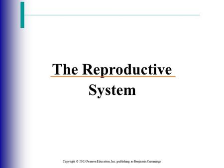 Copyright © 2003 Pearson Education, Inc. publishing as Benjamin Cummings The Reproductive System.