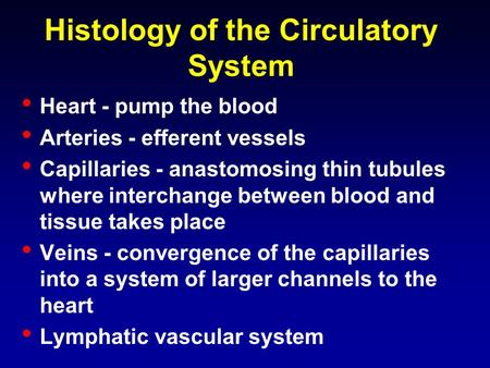 Histology of the Circulatory System Heart - pump the blood Arteries - efferent vessels Capillaries - anastomosing thin tubules where interchange between.