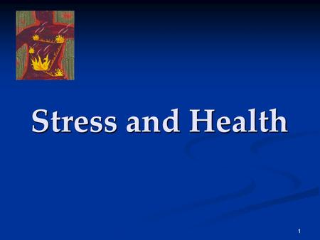 1 Stress and Health. 2 Health Psychology Health psychology is a field of psychology that contributes to behavioral medicine. The field studies stress-related.