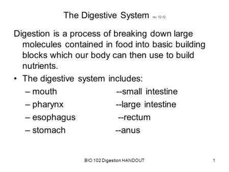 a description of digestion as a process of breaking down food into small particles This secretes juices that continue to break food particles down after they have passed through the esophagus  the digestion of food in the small intestine .