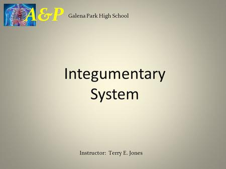 Integumentary System Galena Park High School A&P Instructor: Terry E. Jones.