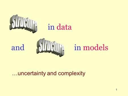 1 in data …uncertainty and complexity in models and.