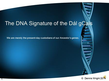 The DNA Signature of the Dál gCais We are merely the present-day custodians of our Ancestor's genes. © Dennis Wright 2014 1.