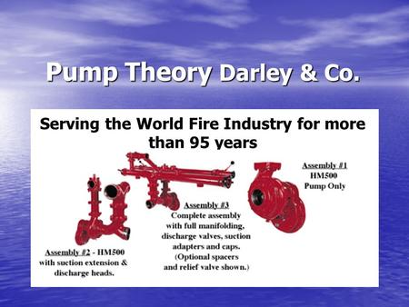 Pump Theory Darley & Co. Serving the World Fire Industry for more than 95 years.