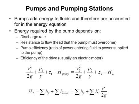 Pumps and Pumping Stations