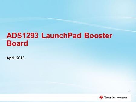 ADS1293 LaunchPad Booster Board