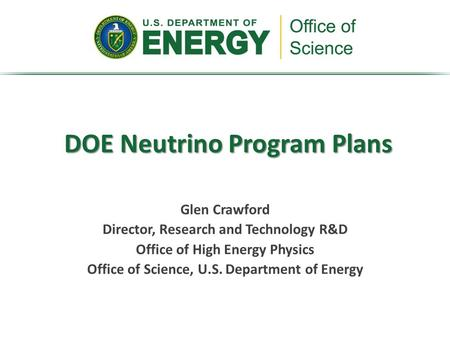 DOE Neutrino Program Plans