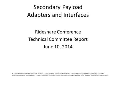 Secondary Payload Adapters and Interfaces