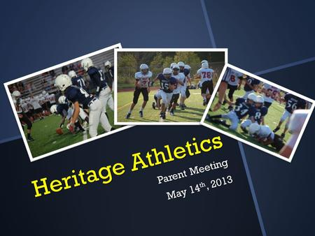 Heritage Athletics Parent Meeting May 14 th, 2013.