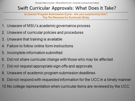 Swift Curricular Approvals: What Does it Take? Michigan State University - Office of the Provost – University Curriculum and Catalog Academic Program Submission.