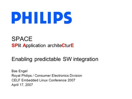 Bas Engel Royal Philips / Consumer Electronics Division