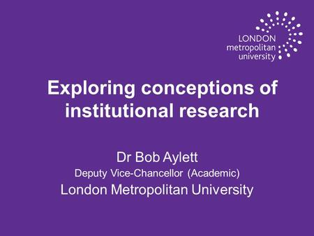 Exploring conceptions of institutional research
