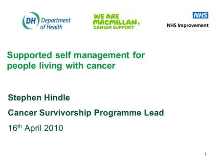 1 Supported self management for people living with cancer Stephen Hindle Cancer Survivorship Programme Lead 16 th April 2010.