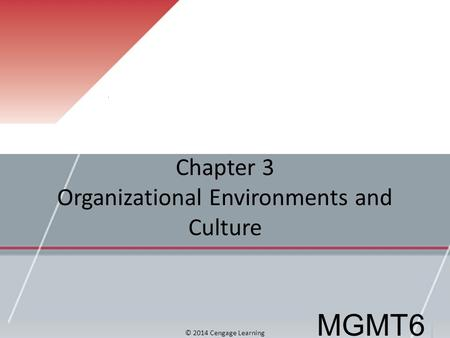 Chapter 3 Organizational Environments and Culture MGMT6 © 2014 Cengage Learning.