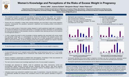 Women's Knowledge and Perceptions of the Risks of Excess Weight in Pregnancy Emma Jeffs 1, Joanna Gullam 2, Benjamin Sharp 3, Helen Paterson 1 1 Department.