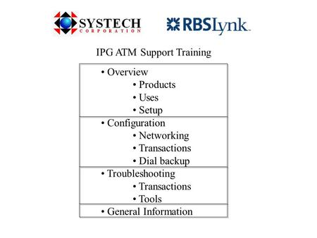 IPG ATM Support Training