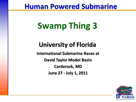 Swamp Thing 3 Human Powered Submarine University of Florida