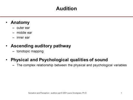 Sensation and Perception - audition.ppt © 2001 Laura Snodgrass, Ph.D.1 Audition Anatomy –outer ear –middle ear –inner ear Ascending auditory pathway –tonotopic.