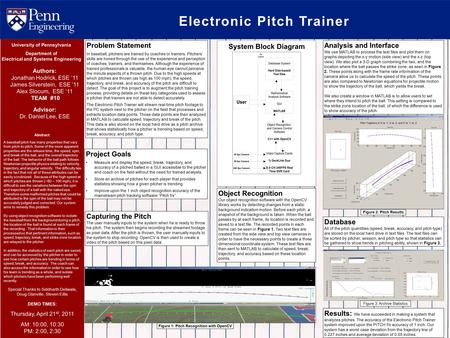 Electronic Pitch Trainer Abstract: A baseball pitch has many properties that vary from pitch-to-pitch. Some of the more apparent properties are the release.