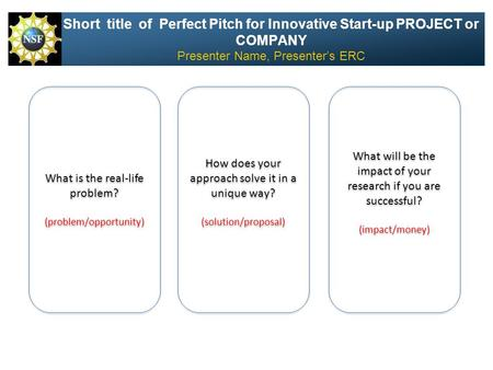 Short title of Perfect Pitch for Innovative Start-up PROJECT or COMPANY Presenter Name, Presenter's ERC What will be the impact of your research if you.
