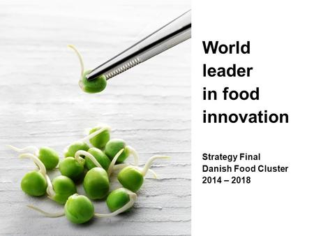 World leader in food innovation Strategy Final Danish Food Cluster 2014 – 2018.