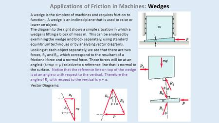 Applications of Friction in Machines: Wedges