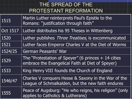 "THE SPREAD OF THE PROTESTANT REFORMATION 1515 Martin Luther reinterprets Paul's Epistle to the Romans: ""justification through faith"" Oct 1517Luther distributes."