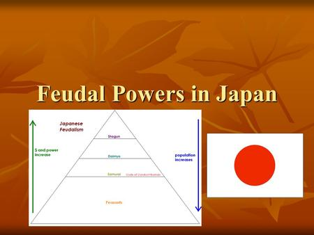 Feudal Powers in Japan I. Geography of Japan Archipelago of 4,000 islands Advantages: Mild climate + rainfall + long growing season = FOOD! Disadvantages: