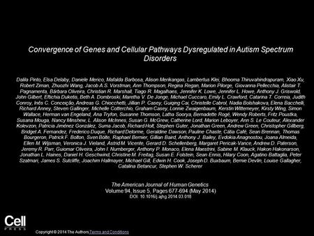Convergence of Genes and Cellular Pathways Dysregulated in Autism Spectrum Disorders Dalila Pinto, Elsa Delaby, Daniele Merico, Mafalda Barbosa, Alison.