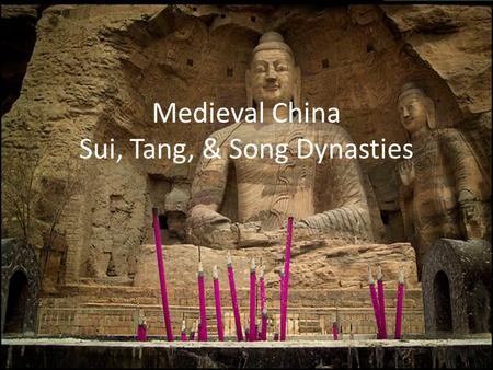 Medieval China Sui, Tang, & Song Dynasties. Looking Back & Looking Forward Shang, Zhou, Qin, Han (Ancient-Classical China) With the fall of the Han Dynasty.