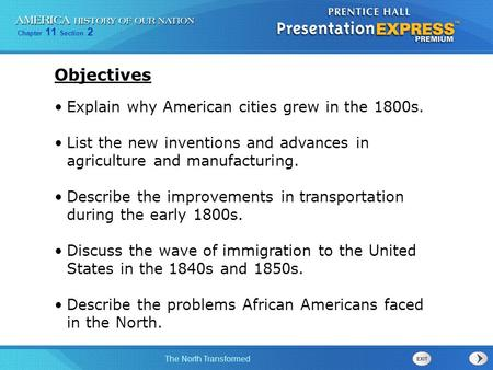 Objectives Explain why American cities grew in the 1800s.
