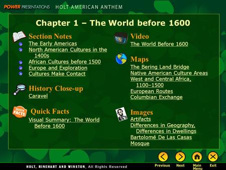 chapter 1 notes prehistory to early World history ch 1 section 1 notes  the beginnings of civilization section 1  preview • starting points map: early people and agriculture • main idea   section 1 find the main idea how do scientists learn about prehistory.