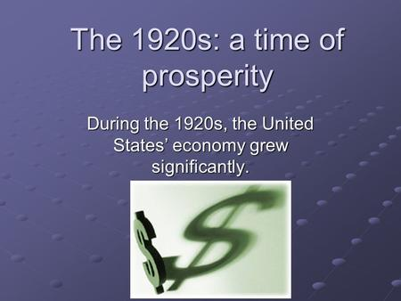 "a discussion on the economy of the united states in the 1920s How the economic boom and bust of the 1920s worked there is no discussion of how deflation and the gold he refers to ""the bank of the united states."