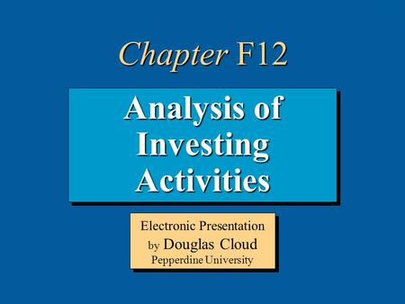 Analysis of Investing Activities