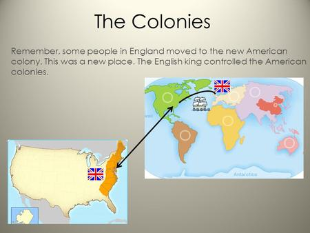 The Colonies Remember, some people in England moved to the new American colony. This was a new place. The English king controlled the American colonies.