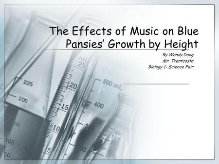 effects of music on plant growth A scientist conducts an experiment to discover the effect of music on plant growth he hypothesizes that the music will help plants grow at a faster rate than plants without music by the end of the experiment, plants grown with music playing grew to an average height of 56 inches, while plants grown without music playing grew to an average .