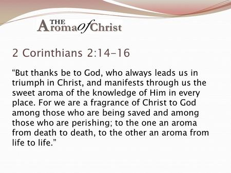 "2 Corinthians 2:14-16 ""But thanks be to God, who always leads us in triumph in Christ, and manifests through us the sweet aroma of the knowledge of Him."