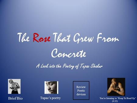 "The Rose That Grew From Concrete A Look into the Poetry of Tupac Shakur Brief Bio Tupac's poetry Review Poetic devices You're listening to ""Keep Ya Head."