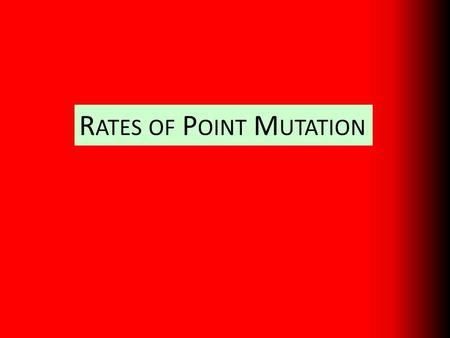 R ATES OF P OINT M UTATION. The rate of mutation = the number of new sequence variants arising in a predefined target region per unit time. Target region.