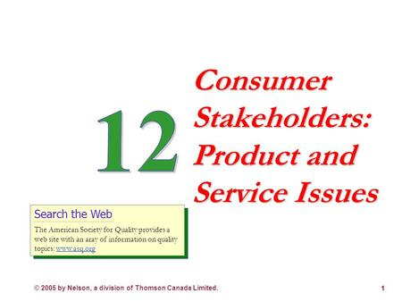 © 2005 by Nelson, a division of Thomson Canada Limited. 1 Consumer Stakeholders: Product and Service Issues Search the Web The American Society for Quality.