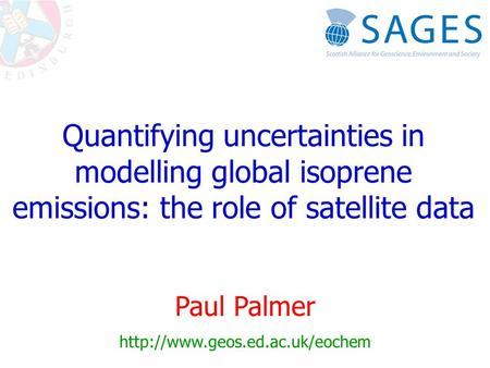 Quantifying uncertainties in modelling global isoprene emissions: the role of satellite data Paul Palmer