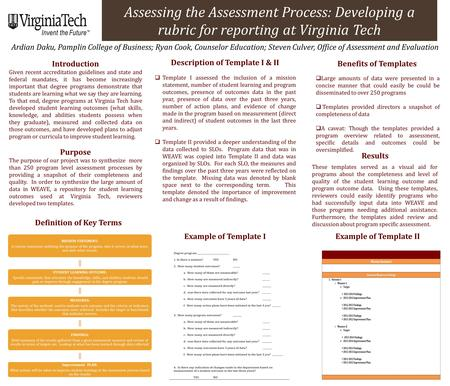Assessing the Assessment Process: Developing a rubric for reporting at Virginia Tech Ardian Daku, Pamplin College of Business; Ryan Cook, Counselor Education;