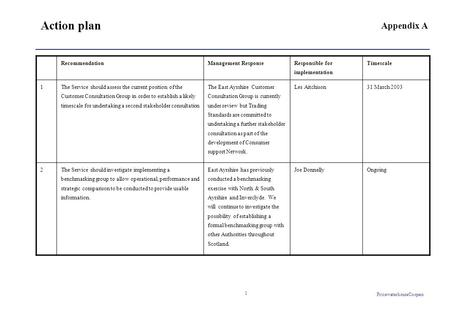 PricewaterhouseCoopers 1 Action plan RecommendationManagement Response Responsible for implementation Timescale 1 The Service should assess the current.
