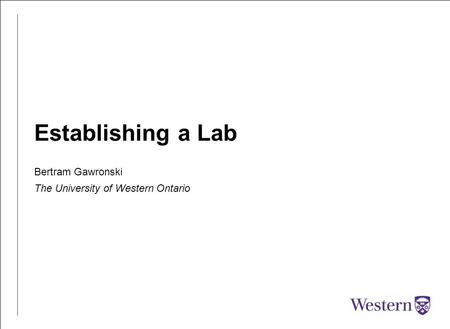 Establishing a Lab Bertram Gawronski The University of Western Ontario.