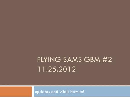 FLYING SAMS GBM #2 11.25.2012 updates and vitals how-to!