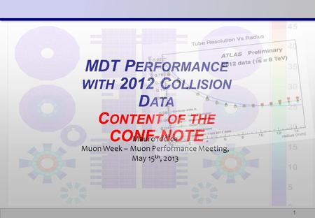 1 MDT P ERFORMANCE WITH 2012 C OLLISION D ATA C ONTENT OF THE CONF-NOTE Mauro Iodice Muon Week – Muon Performance Meeting, May 15 th, 2013.